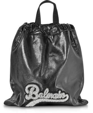Balmain Black Leather Blink Backpack