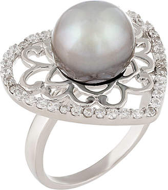 Splendid Pearls Pearl & Czs Silver 9-10Mm Tahitian Pearl & Cz Ring
