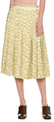 Tomas Maier Chevron Pleated Midi Skirt, Yellow
