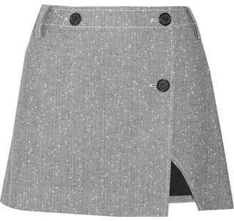Topshop Wool-blend Tweed Wrap Mini Skirt - Gray