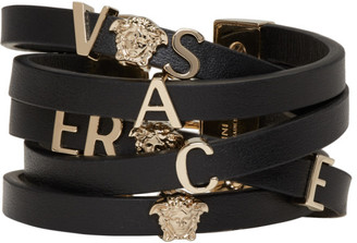Versace Black Leather Logo Bracelet $525 thestylecure.com