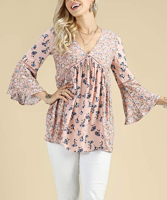 Dusty Pink Floral V-Neck Tunic - Women