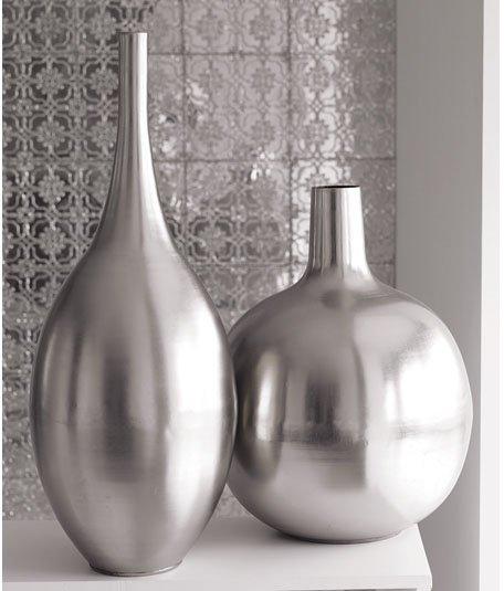 Brushed Metal Vases - Silver