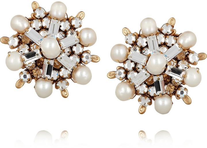 Swarovski Bijoux Heart Gold-plated crystal and pearl clip earrings