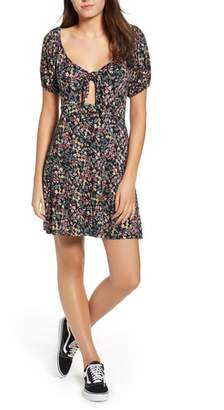 Love, Fire Print Keyhole Skater Dress