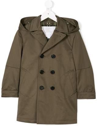 Burberry Detachable Hood Cotton Blend Trench Coat