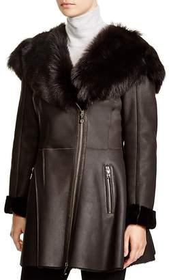 Maximilian Furs Maximilian Shearling Coat with Toscana Shearling-Trimmed Hood