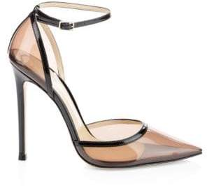 Gianvito Rossi Clear Point-Toe Ankle-Strap Pumps
