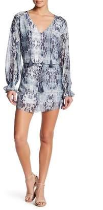 Haute Hippie V-Neck Front Tie Print Dress
