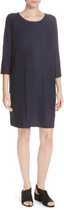 Eileen Fisher Scoop Neck Knee Length Shift Dress
