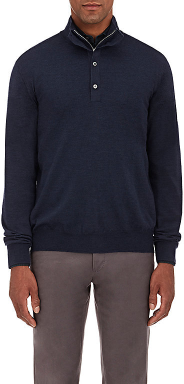 Barneys New York Barneys New York BARNEYS NEW YORK MEN'S FINE-GAUGE ZIP-FRONT SWEATER