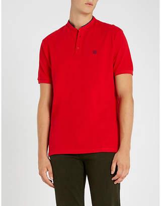 The Kooples Officer-collar cotton-piqué polo shirt