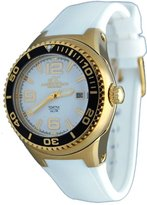 Adee Kaye # 2230ss-lg Women 's Neptune CollectionステンレススチールシリコンバンドWhite and Gold Watch