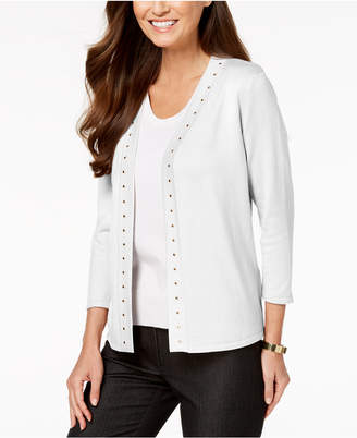 JM Collection Petite Studded Cardigan