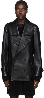 Comme des Garcons Black Faux-Leather Double-Breasted Coat
