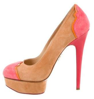 Charlotte Olympia Suede Colorblock Pumps