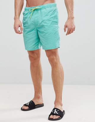Asos DESIGN Swim Shorts In Green Acid Wash With Neon Drawcord In Mid Length