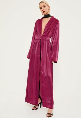 Pink Crushed Satin Waist Detail Duster Coat $88 thestylecure.com
