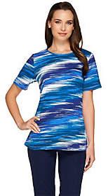 Denim & Co. Blurred Stripe Printed ScoopneckJersey T-shirt