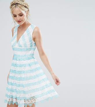 Asos Salon Lace Mini Dress In Stripe