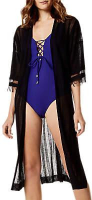 Karen Millen Sheer Striped Cardigan, Black