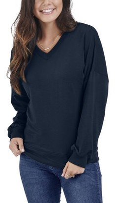 Fruit of the Loom Seek No Further by Women's Brushed Fleece V-Neck Blouse