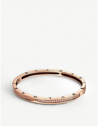 Bvlgari B.zero1 18kt pink-gold and pavé diamond bangle bracelet