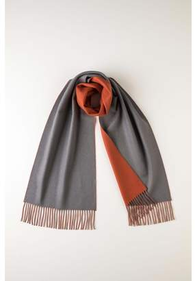 Johnstons of Elgin Grey & Orange Contrast Reversible Cashmere Scarf