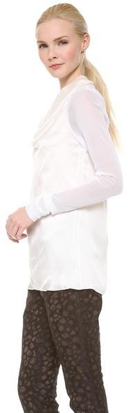 Vera Wang Collection Long Sleeve Cowl Neck Blouse