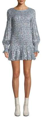 LoveShackFancy Scarlett Smocked Metallic Mini Dress