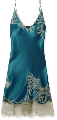 Carine Gilson Chantilly Lace-trimmed Silk-satin Chemise - Petrol