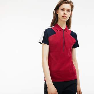 Lacoste Women's Made In France Slim Fit Zip Neck Pique Polo
