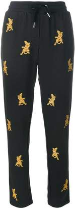Zoe Karssen embroidered cheetah track pants