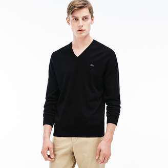 Lacoste Men's Ribbed V-Neck Sweater
