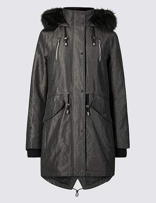 """Marks and Spencer Metallic Zipped Parka with Stormwearâ""""¢"""