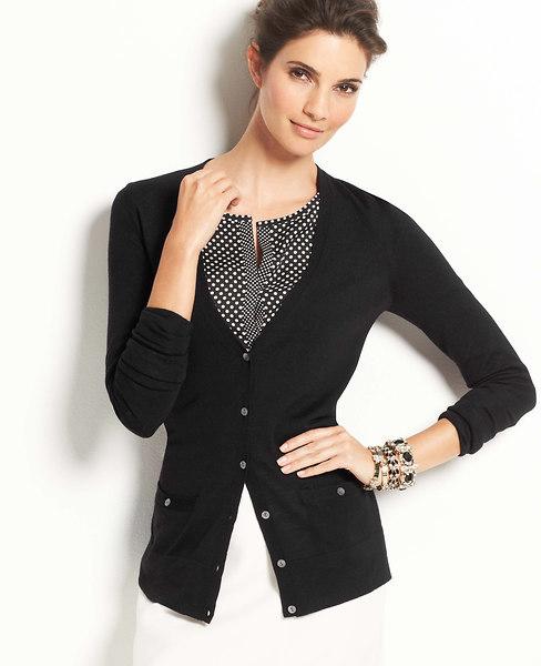 Ann Taylor Italian Merino Wool V-Neck Cardigan