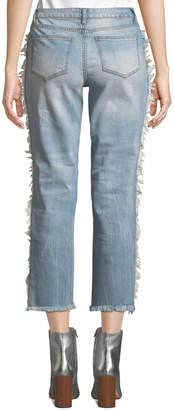 Rachel Roy Shadow Distressed Raw-Hem Skinny Jeans