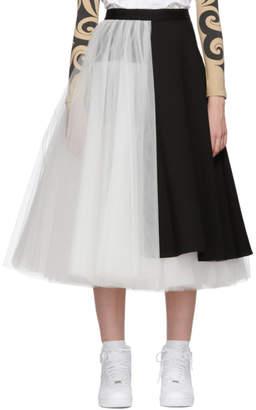 Junya Watanabe Black and White Tulle Tuxedo Mix Skirt