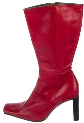 Sergio Rossi Leather Square-Toe Boots Red Leather Square-Toe Boots