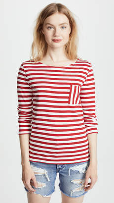 Petit Bateau Iconic 1x1 Striped Tee with Pocket
