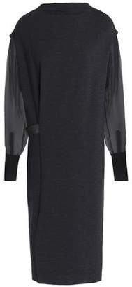 Brunello Cucinelli Organza-Paneled Bead-Embellished Wool-Blend Dress