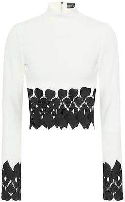 David Koma Cady lace-trimmed crop top