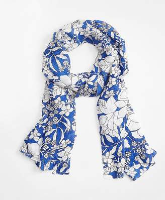Blue Floral Silk Oblong Scarf $128 thestylecure.com