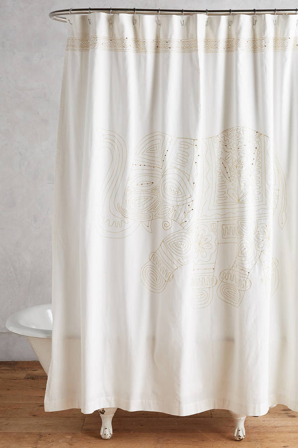 AnthropologieAnthropologie Embroidered Elephant Shower Curtain