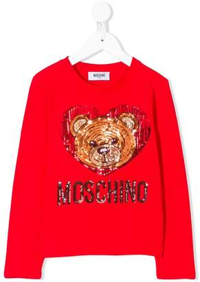 Moschino Kids Teddy Toy sequin-embellished T-shirt