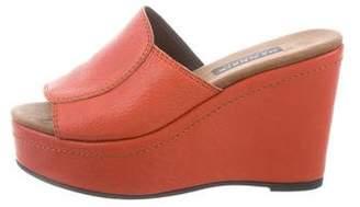 PeepToe NewbarK Leather Peep-Toe Wedges
