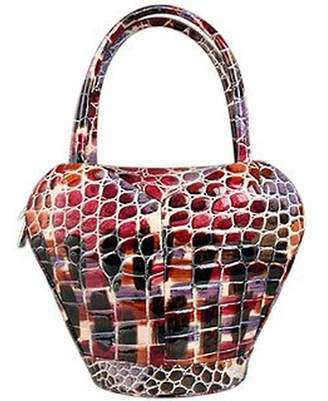 Fontanelli Multi-color Stamped Italian Leather Handbag