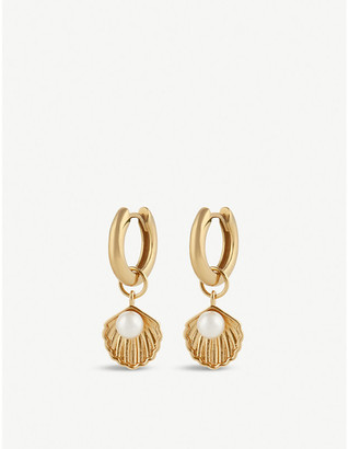 Olivia Burton Under the Sea shell charm gold-plated huggie earrings