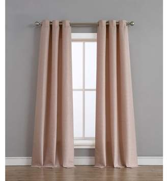 Tribeca Home Raw Faux Silk Grommet 76 in. x 84 in. Curtain Panel Pair, Blush