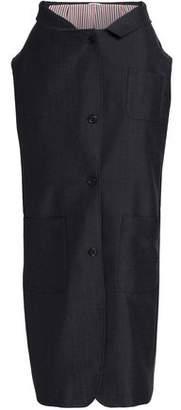 Thom Browne Shirt-Effect Asymmetric Wool And Mohair-Blend Midi Skirt